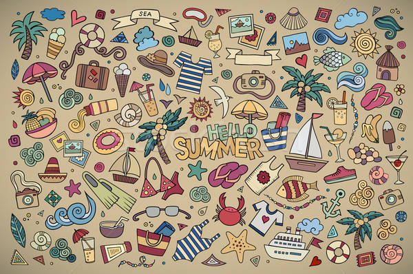 Foto stock: Verão · praia · símbolos · objetos · vetor