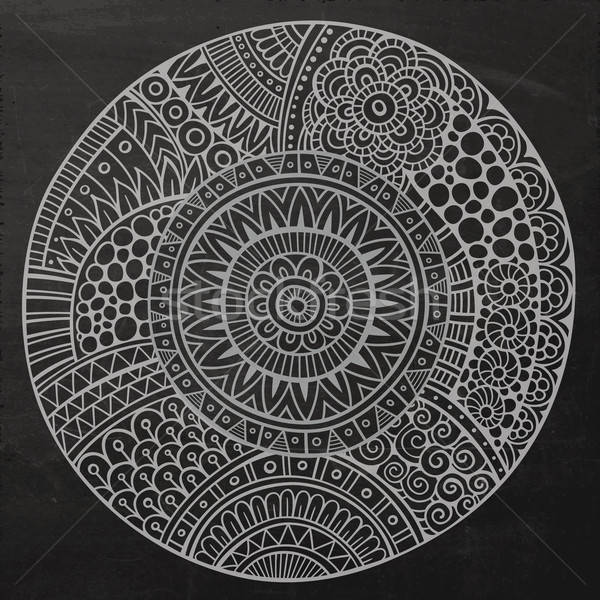 Stock photo: Vector chalkboard circle sketch background