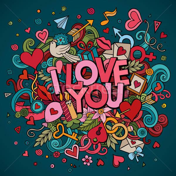 Stockfoto: Cartoon · vector · doodle · liefde · illustratie