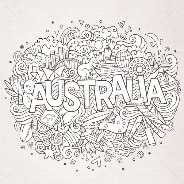 Ausztrália kéz firkák elemek vidék szimbólumok Stock fotó © balabolka