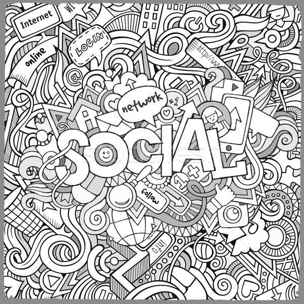 Social hand lettering and doodles elements background Stock photo © balabolka