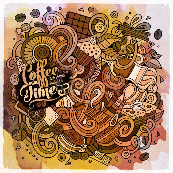 Cartoon hand-drawn doodles of cafe, coffee shop background Stock photo © balabolka