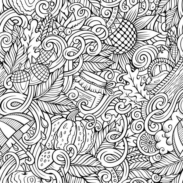 Cartoon cute doodles autumn seamless pattern Stock photo © balabolka