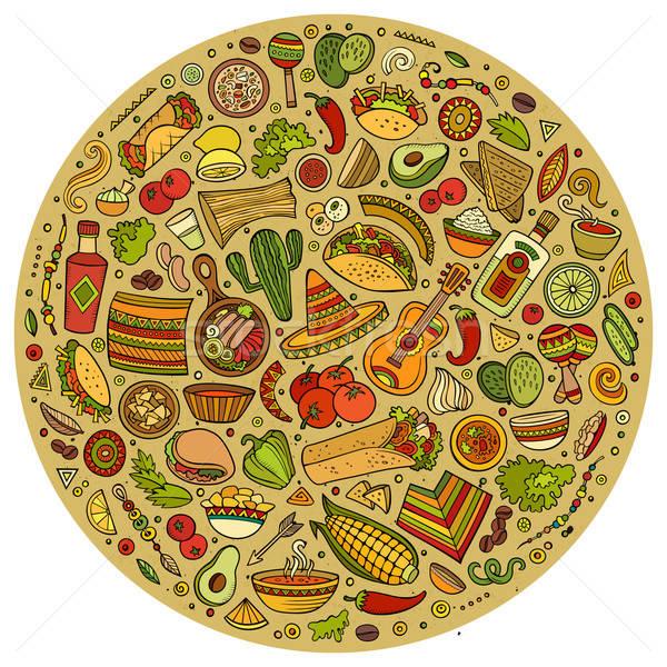Establecer comida mexicana Cartoon garabato objetos símbolos Foto stock © balabolka