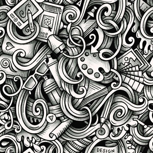 Cartoon hand-drawn doodles Design and Art seamless pattern Stock photo © balabolka