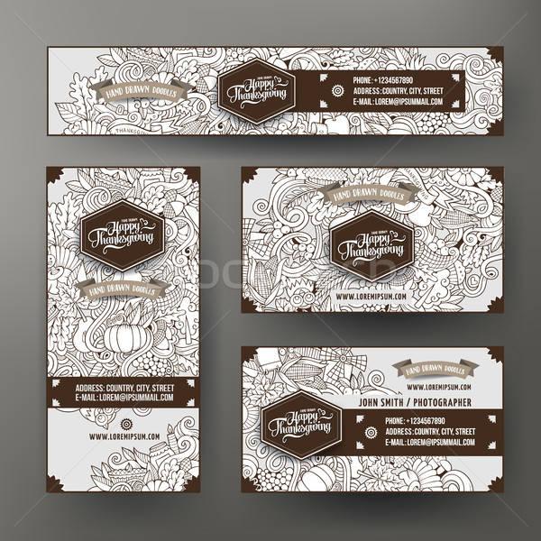 Corporate Identity templates set with doodles Thanksgiving theme Stock photo © balabolka