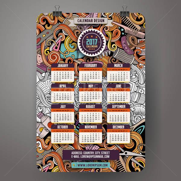 Cartoon bazgroły salon fryzjerski rok kalendarza kolorowy Zdjęcia stock © balabolka
