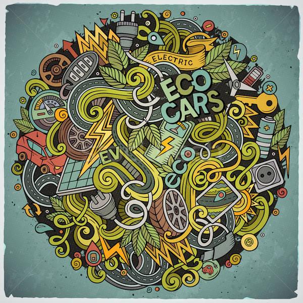 Cartoon cute doodles Electric cars illustration Stock photo © balabolka