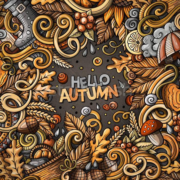 Desenho animado bonitinho outono quadro Foto stock © balabolka