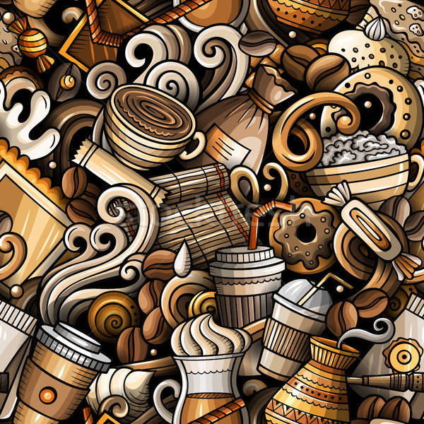 Cartoon Cute рисованной кофейня Сток-фото © balabolka