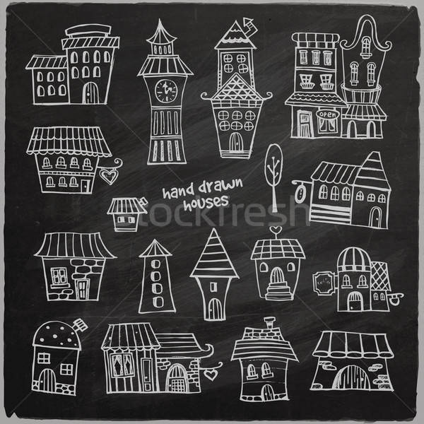 chalkboard vector fairy tale houses Stock photo © balabolka