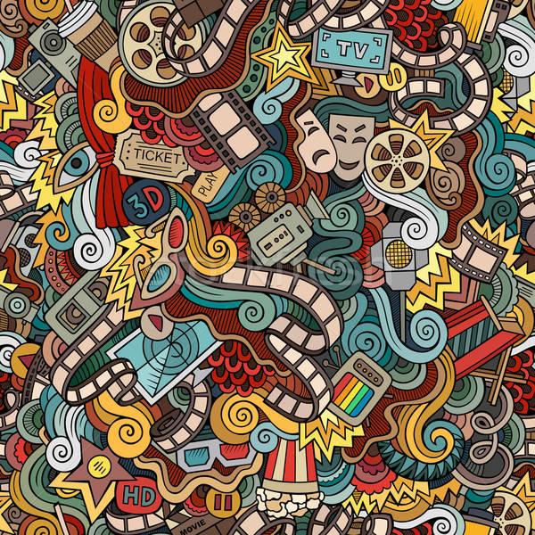 Rajz firkák mozi végtelen minta vektor kézzel rajzolt Stock fotó © balabolka