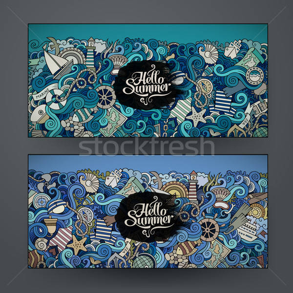 Vector banner templates set with doodles marine theme Stock photo © balabolka