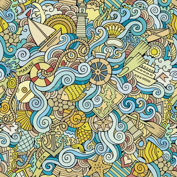 Seamless pattern sealife and marine Stock photo © balabolka