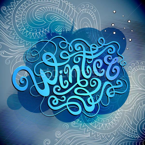 Winter Hand Schriftkunst Vektor glücklich Stock foto © balabolka