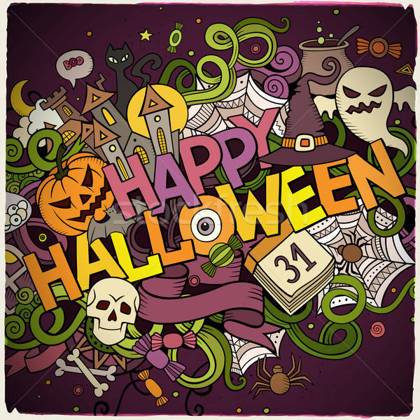 Foto stock: Desenho · animado · vetor · rabisco · feliz · halloween