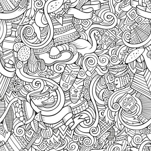 Rajz firkák amerikai stílus végtelen minta körvonal Stock fotó © balabolka