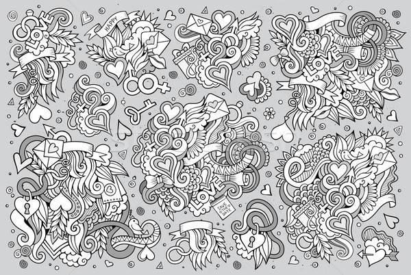 ストックフォト: ベクトル · 手描き · 漫画 · セット