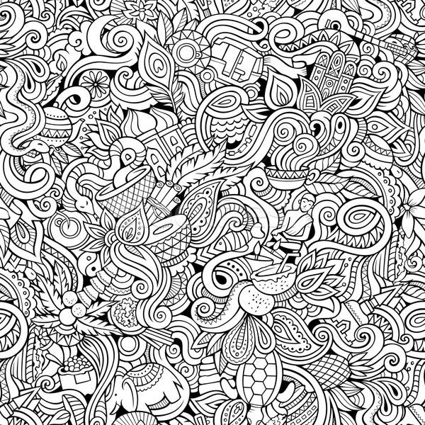 Cartoon hand-drawn doodles on the subject of Indian style theme seamless pattern Stock photo © balabolka