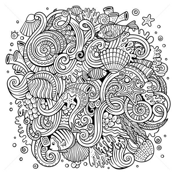 Cartoon scarabocchi subacquea vita illustrazione line Foto d'archivio © balabolka