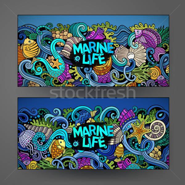 Foto stock: Desenho · animado · vetor · subaquático · vida · banners · marinha
