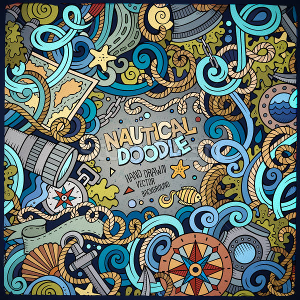 Morski cartoon wektora gryzmolić ramki Zdjęcia stock © balabolka