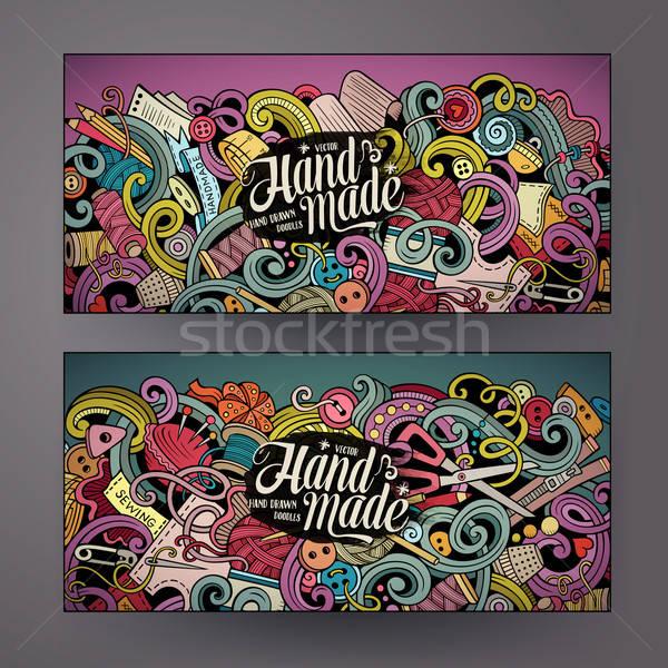 Cartoon vector doodles handmade banners Stock photo © balabolka
