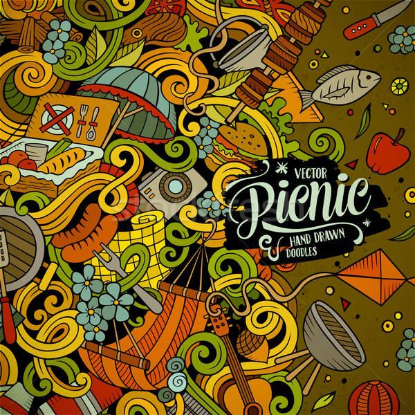 Cartoon vector picnic doodle illustration Stock photo © balabolka