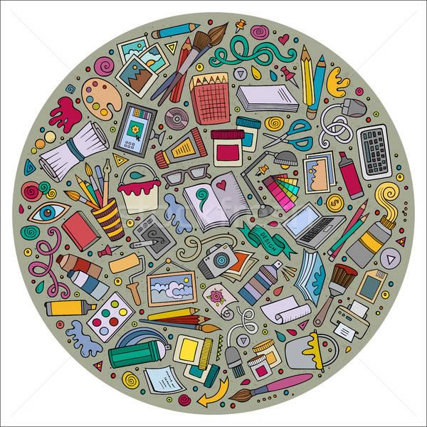 Conjunto estilista desenho animado rabisco objetos símbolos Foto stock © balabolka