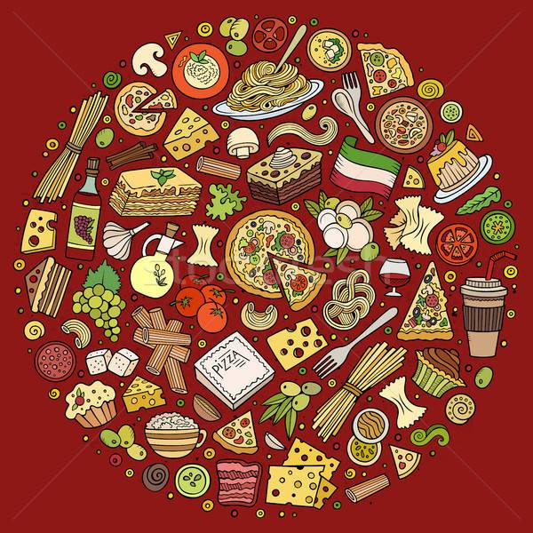 Stockfoto: Ingesteld · Italiaans · eten · cartoon · doodle · objecten · symbolen