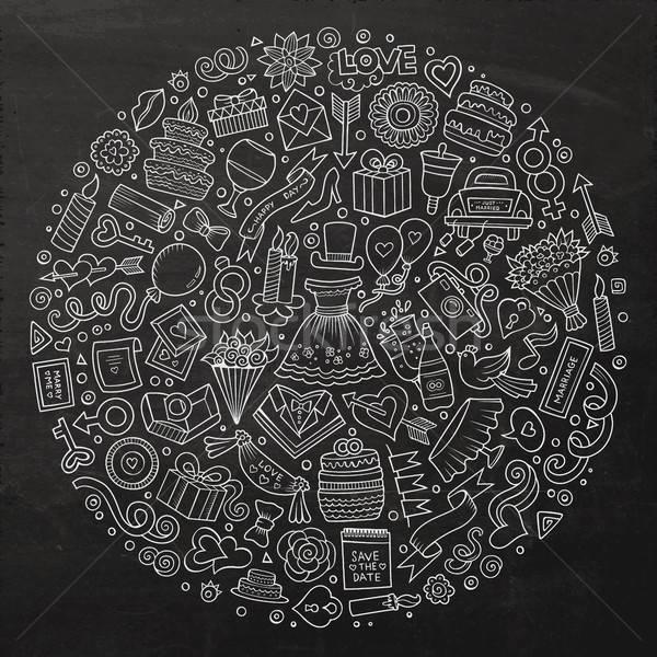 Set of Wedding cartoon doodle objects Stock photo © balabolka