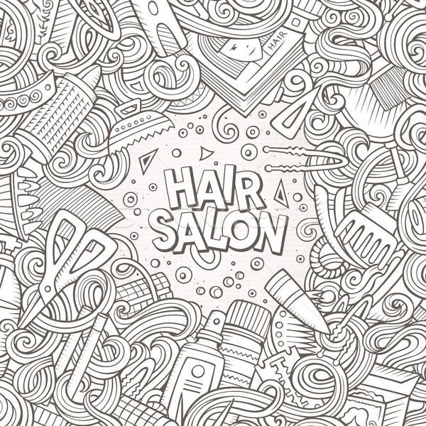 Cartoon cute doodles Hair salon frame design Stock photo © balabolka