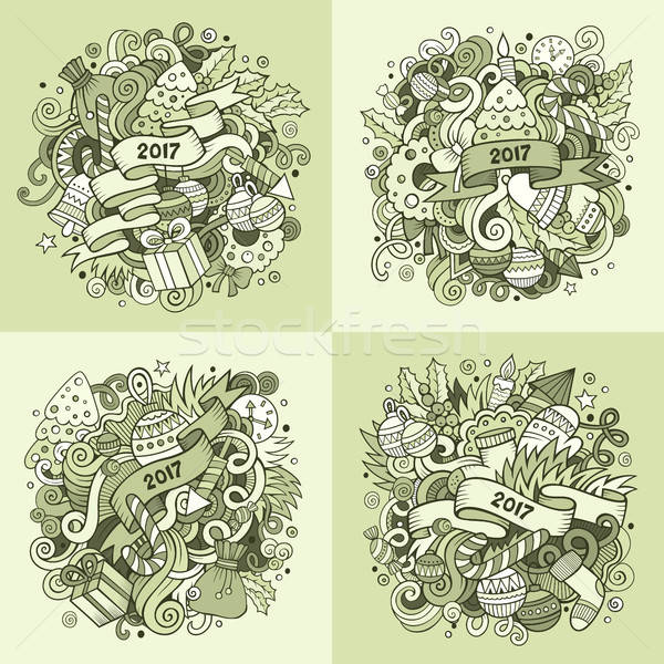 Stockfoto: Nieuwjaar · cartoon · vierkante · achtergronden · vector