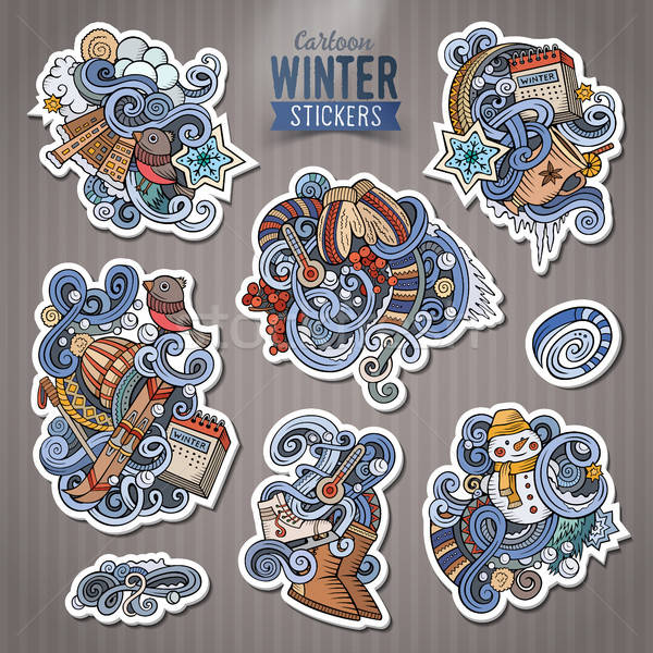 Ingesteld winterseizoen doodle cartoon stickers vector Stockfoto © balabolka