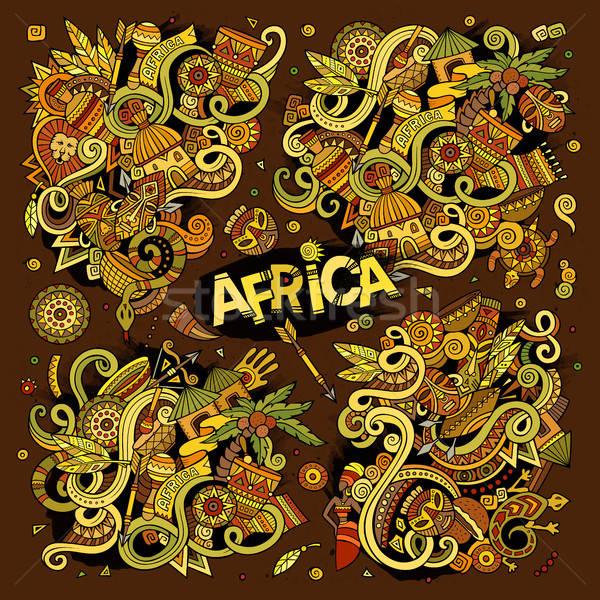 ベクトル いたずら書き 漫画 セット アフリカ デザイン ストックフォト © balabolka