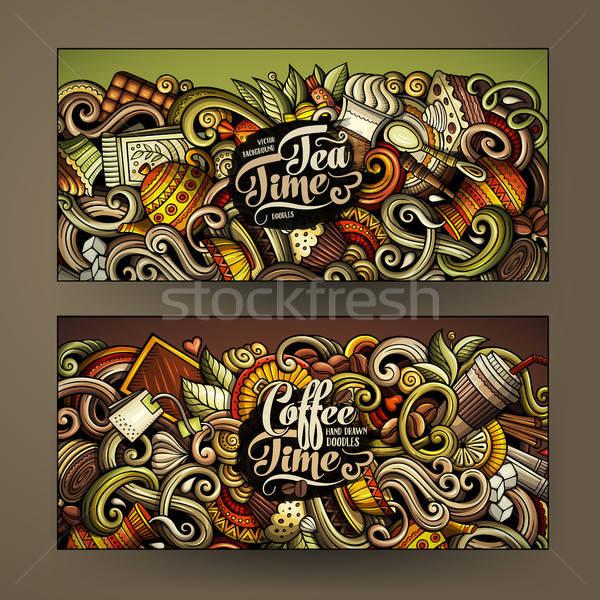 Cartoon colorido vector garabatos Servicio banners Foto stock © balabolka