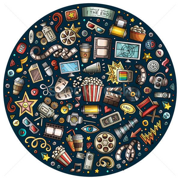 Set cinema desen animat mazgalitura obiecte colorat Imagine de stoc © balabolka