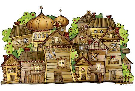 Stock photo: Cartoon fairy tale drawing village