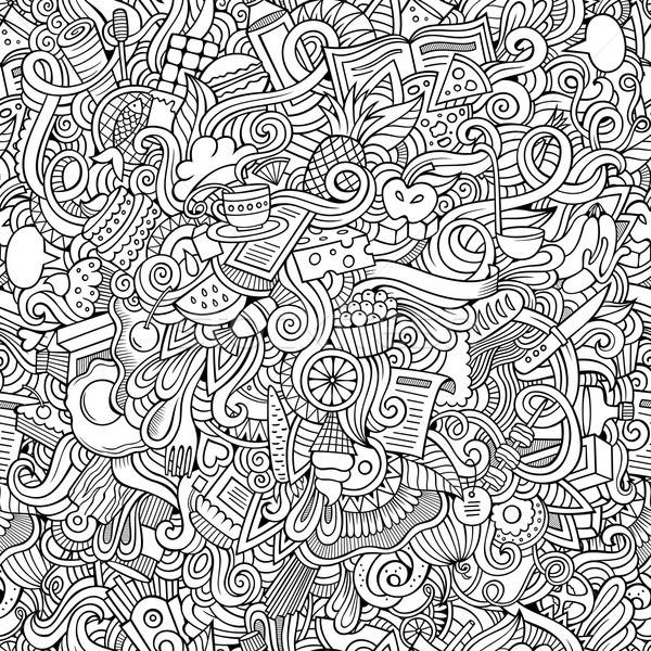 doodles hand drawn food seamless pattern Stock photo © balabolka