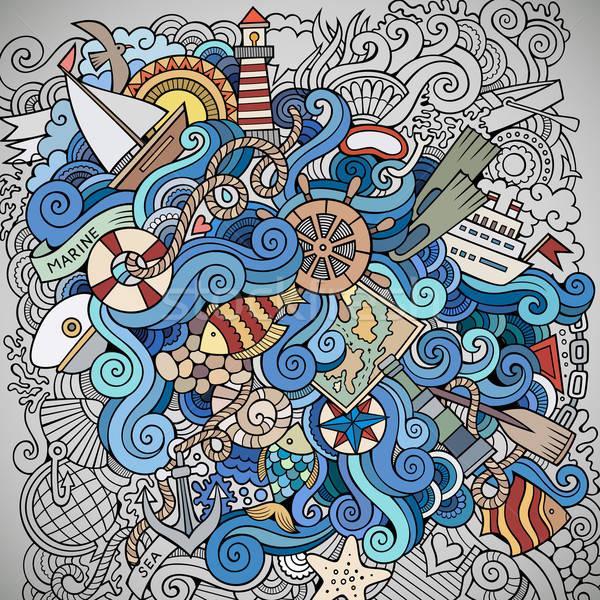 Karalamalar deniz deniz vektör soyut dekoratif Stok fotoğraf © balabolka