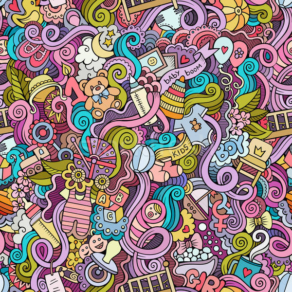 Stock photo: Cartoon vector doodle children seamless pattern
