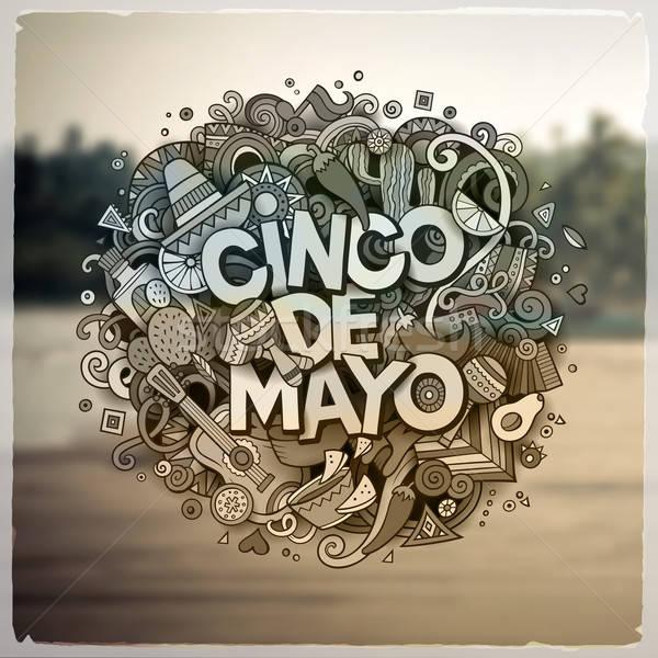 Cinco de Mayo. Cartoon vector hand drawn Doodle illustration Stock photo © balabolka
