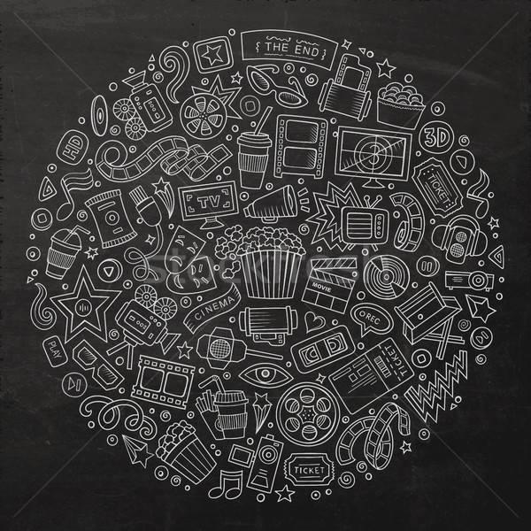 Set of Cinema cartoon doodle objects Stock photo © balabolka
