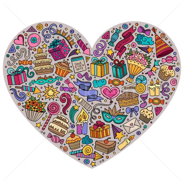 Kleurrijk vector ingesteld vakantie cartoon doodle Stockfoto © balabolka