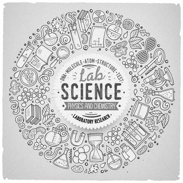 Ingesteld wetenschap cartoon doodle objecten symbolen Stockfoto © balabolka