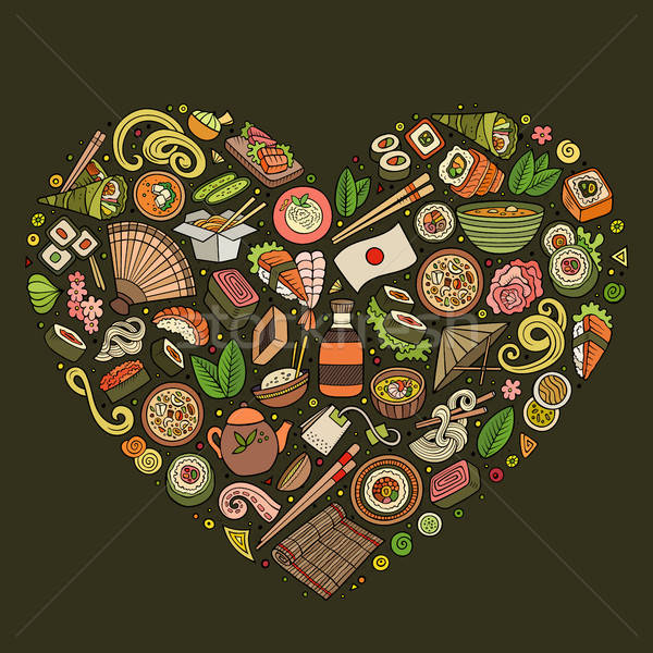 Set of Japan food cartoon doodle objects, symbols and items Stock photo © balabolka