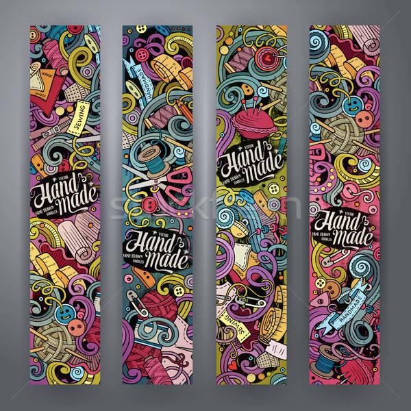 Cartoon wektora bazgroły wykonany ręcznie banery kolorowy Zdjęcia stock © balabolka
