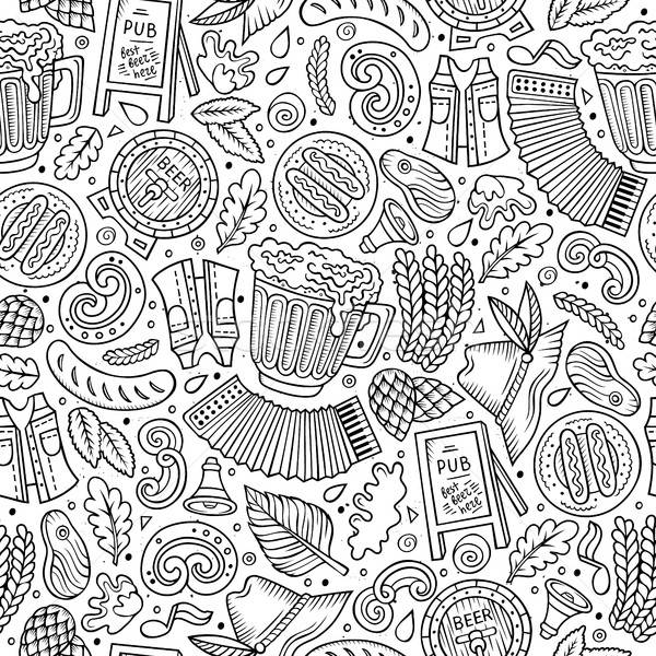 Stock photo: Cartoon cute hand drawn Beer fest seamless pattern
