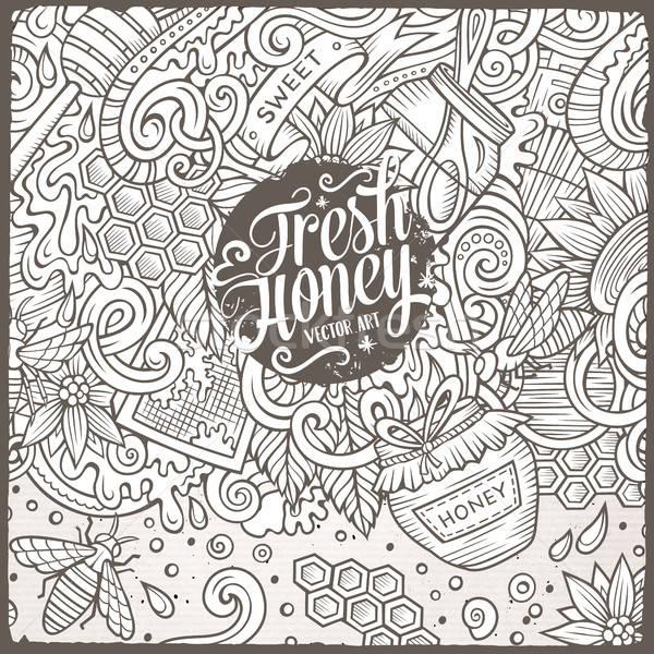 Cartoon doodles Honey frame design Stock photo © balabolka