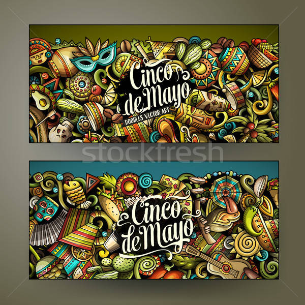 Cartoon vector garabatos américa latina horizontal banners Foto stock © balabolka